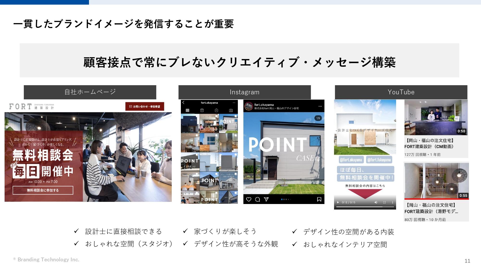 【中小工務店向け】個別相談会を倍増させるための動画・ホームページの活用方法(ブランディングテクノロジー株式会社)一貫したブランドイメージを発信することが重要